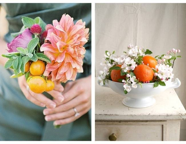 orange citrus fruit wedding bouquet