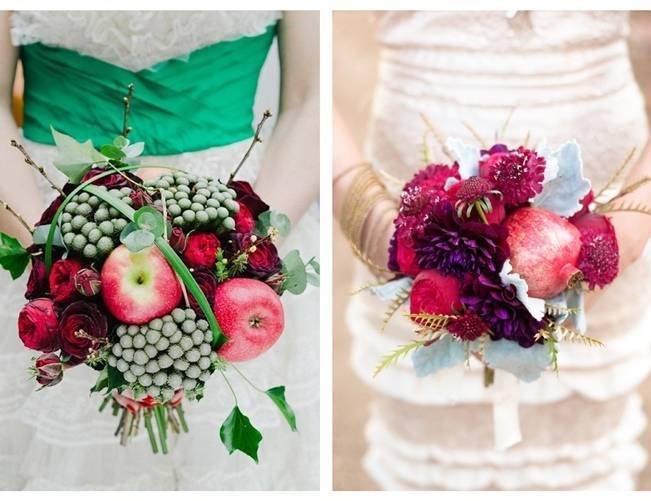 apple pommegranate wedding bouquet