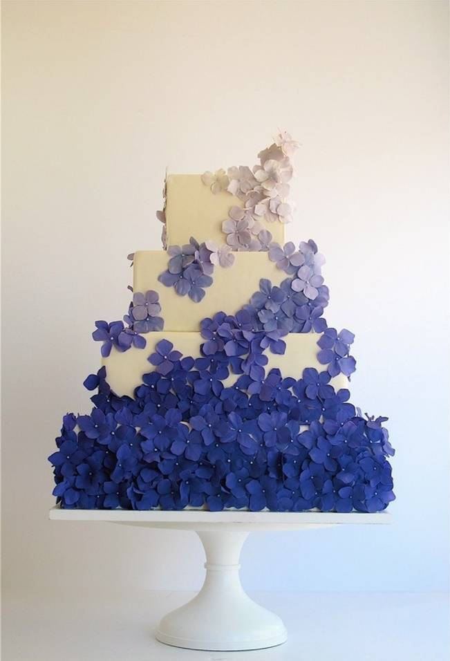 dark violet blue ombre flower cake