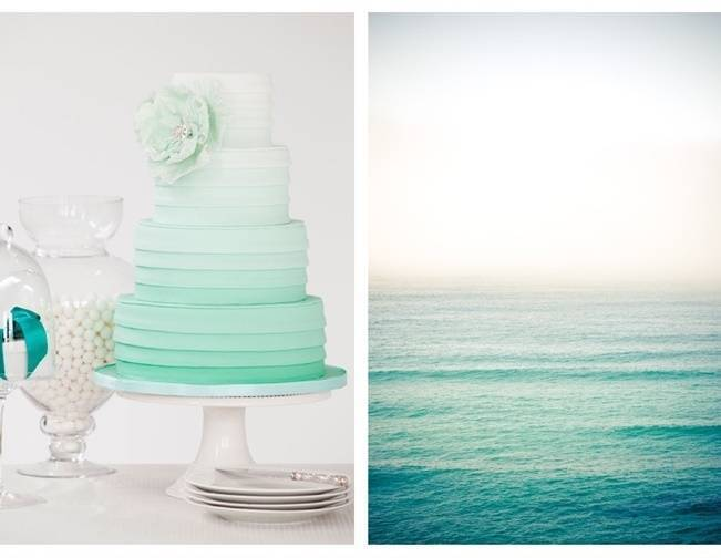 aqua mint ombre cake sea