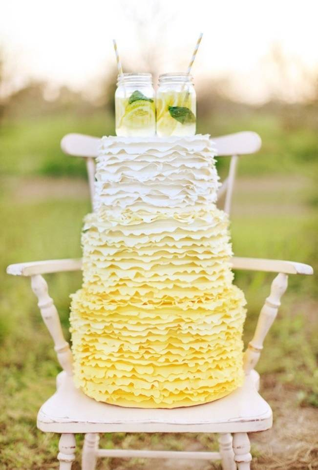 lemon yellow ombre cake