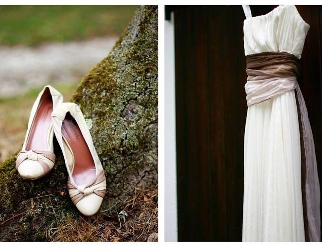 natural garden wedding dress, white brown pink