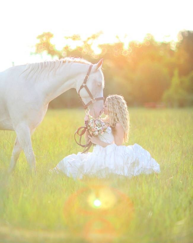 bride in a field with horse