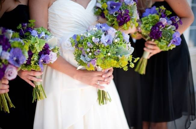green and purple wedding bouquets