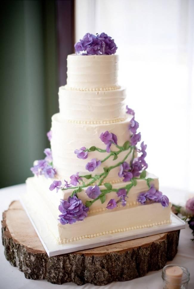 Rustic green purple garden wedding from a garden party for Garden wedding cake designs