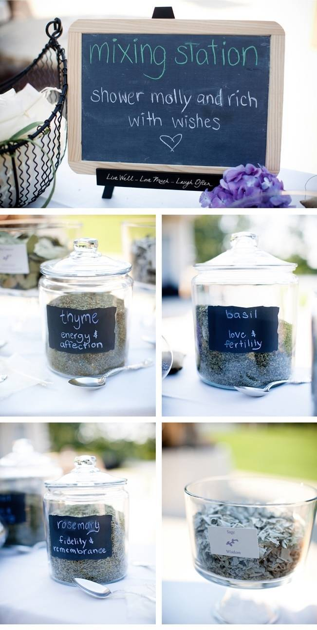 herb mixing station for wedding toss