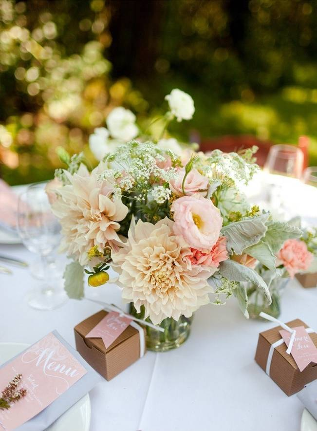 cream dahlia centerpiece