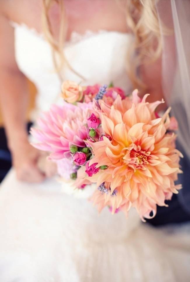 orange and pink dahlia wedding bouquet