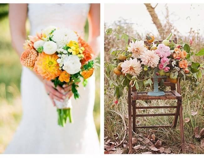 orange yellow pink dahlias wedding