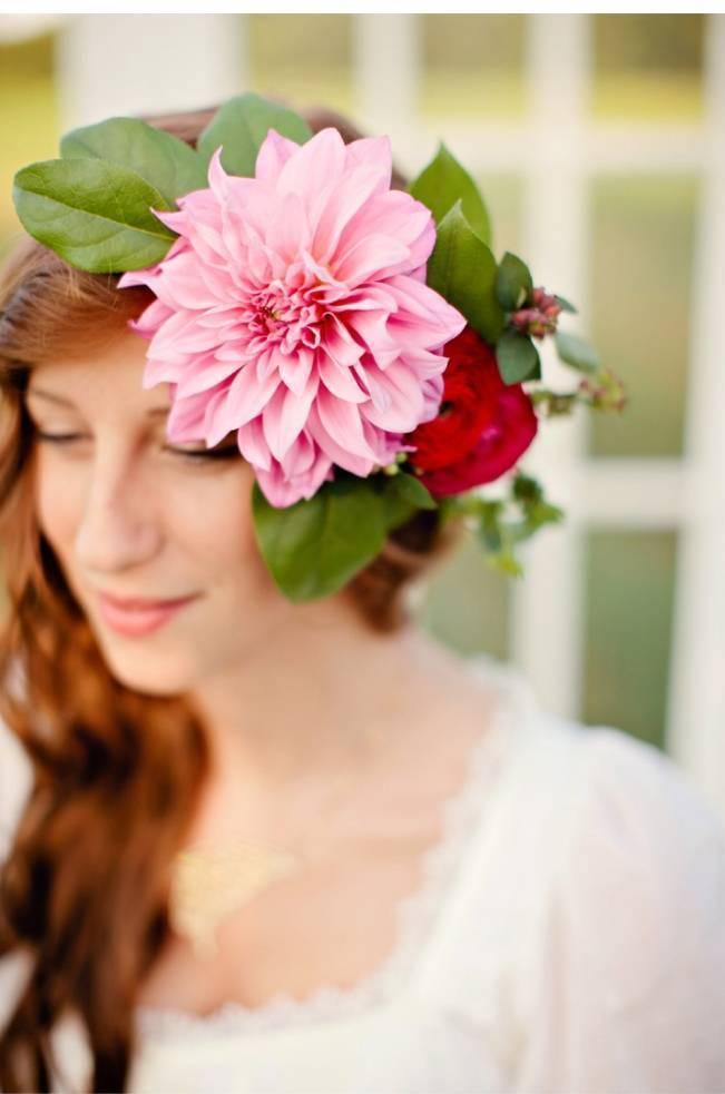 pink dahlia hair crown