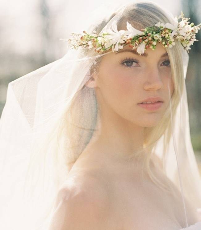 flower crown over veil