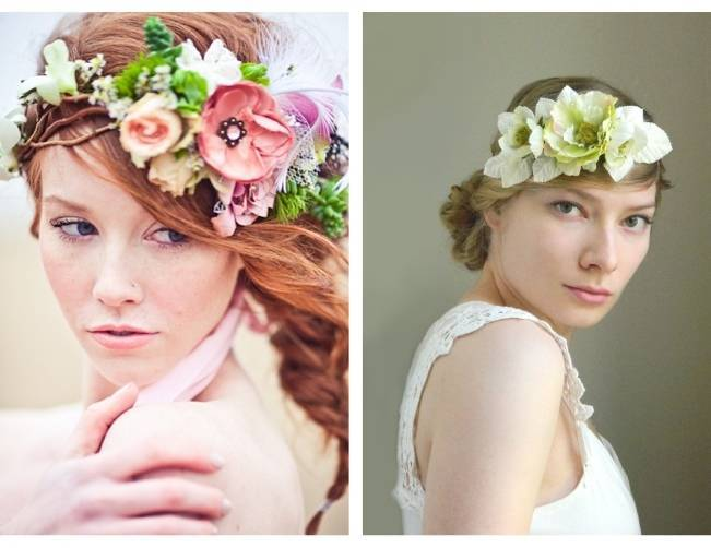 spring green woodland flower crown