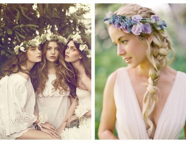 bridesmaid flower crowns purple