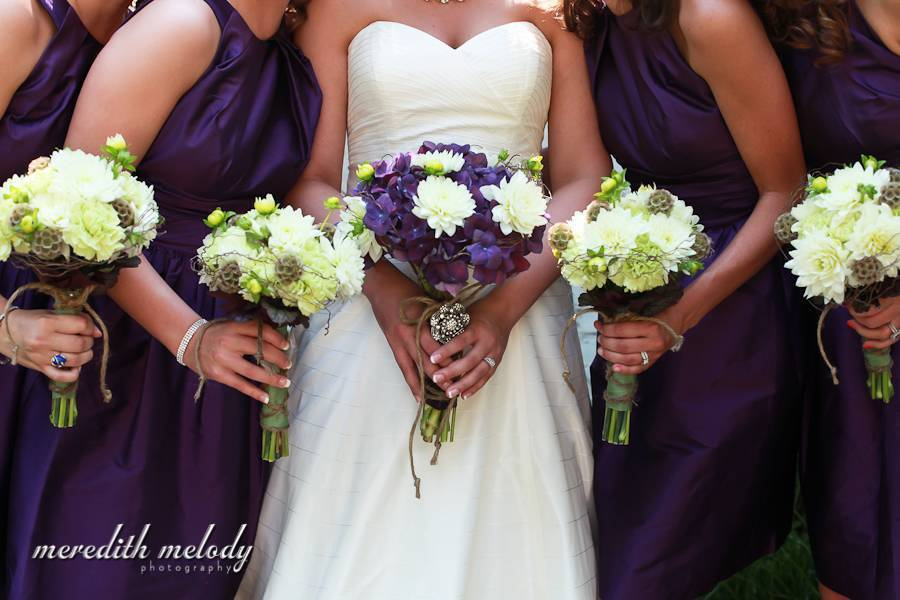 Rose of Sharon Purple and Green bouquets