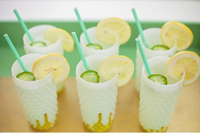 green and yellow cocktails