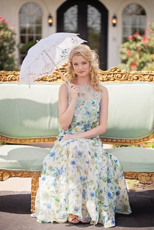 blue green floral print bridesmaid dress
