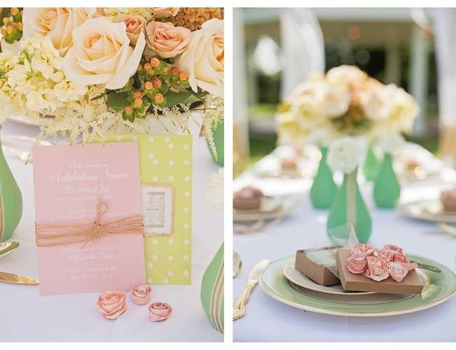 pink and mint bridesmaids lunch
