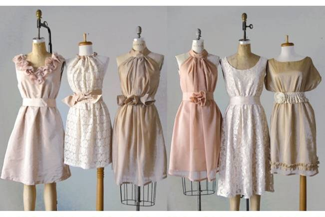 Blush Mismatched Bridesmaid Dresses Atleier Signature