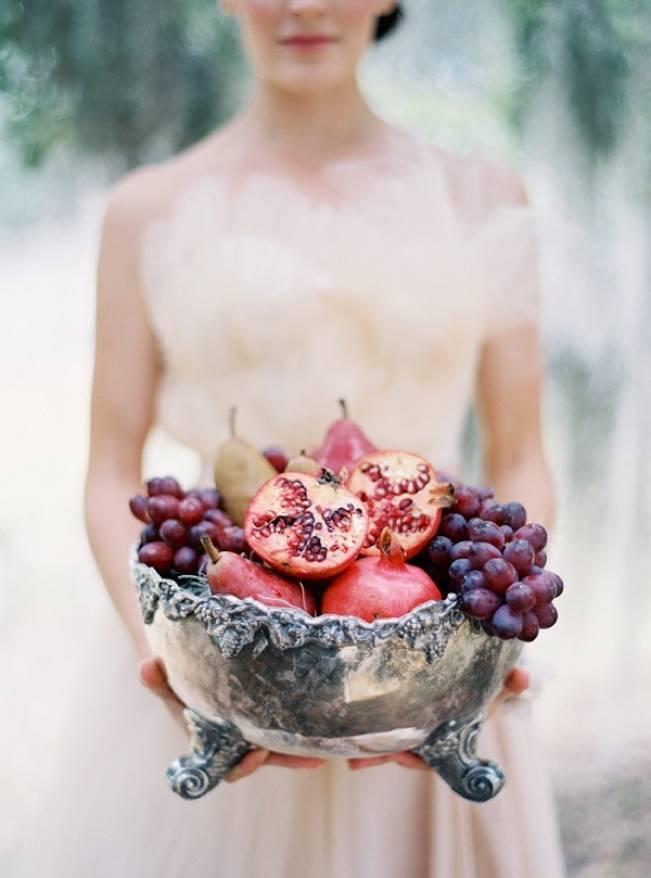 pomegranate wedding centerpiece