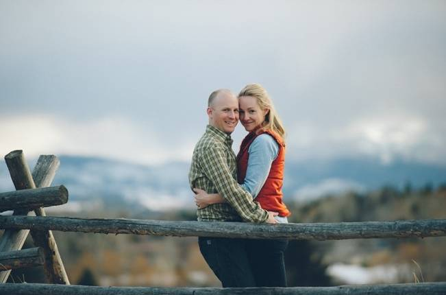 rustic couple engaged