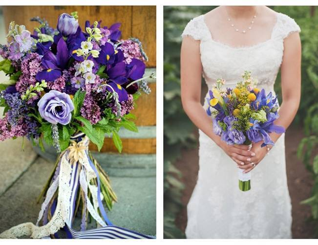 purple and yellow iris bouquet