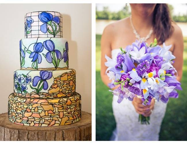 iris wedding cake, purple pink iris bouquet