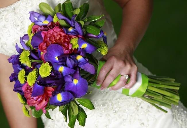 blue purple iris wedding bouquet