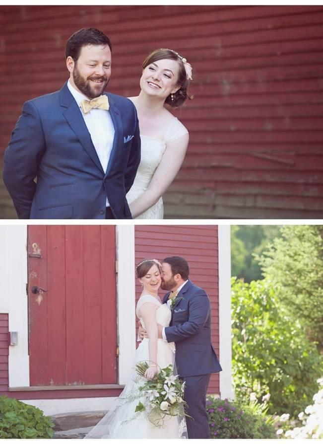first look rustic bride and groom