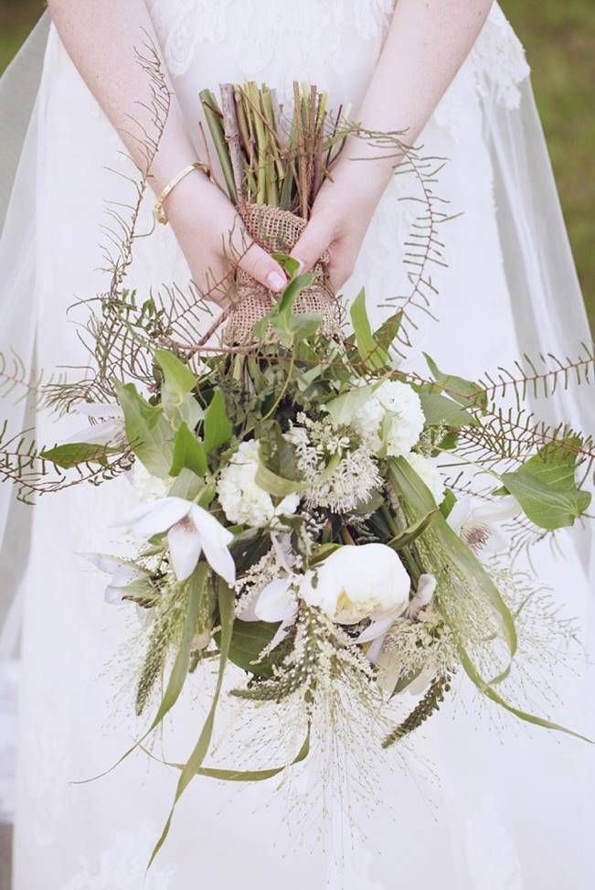 rustic fern white and green bouquet