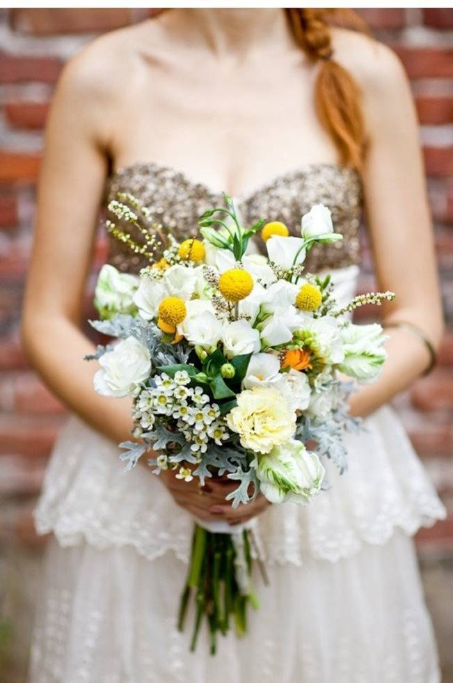 white green yellow rustic wedding bouquet