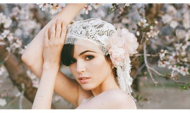 Erica Elizabeth Designs lace blush bridal cap