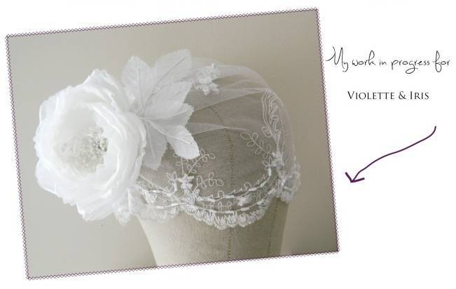 Violette & Iris bridal cap in progress