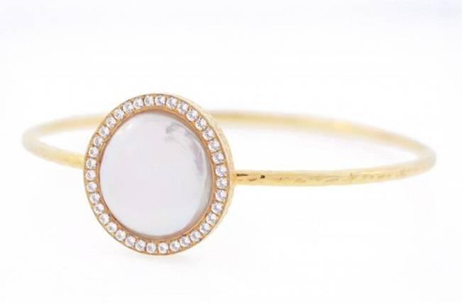 pearl and diamond bangle bracelet cuff