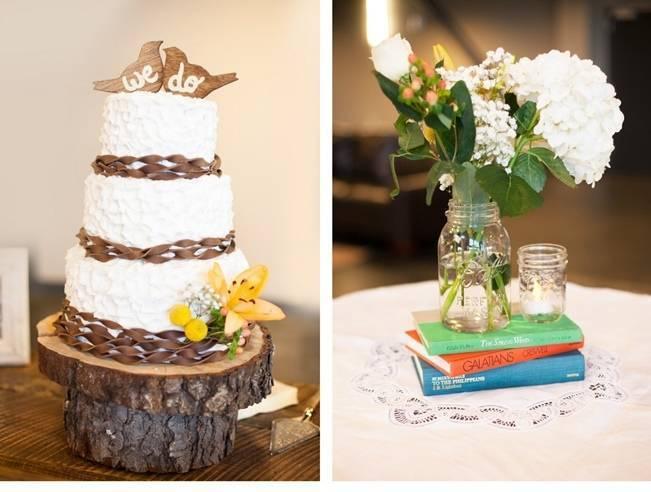 rustic wedding cake on tree stand