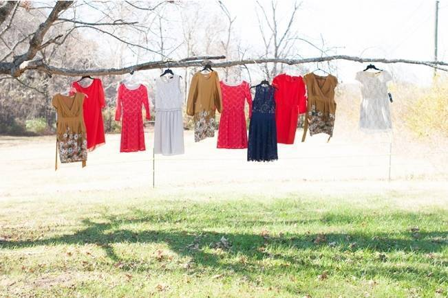 red, gold, blue bridesmaid dresses vintage