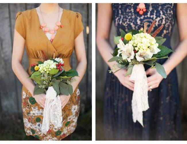 gold and blue bridesmaids