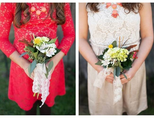 red lace bridesmaid dress, wildflower bouquets