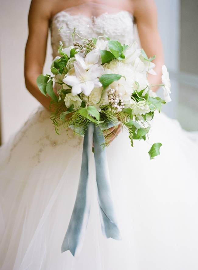 green and white fern bouquet