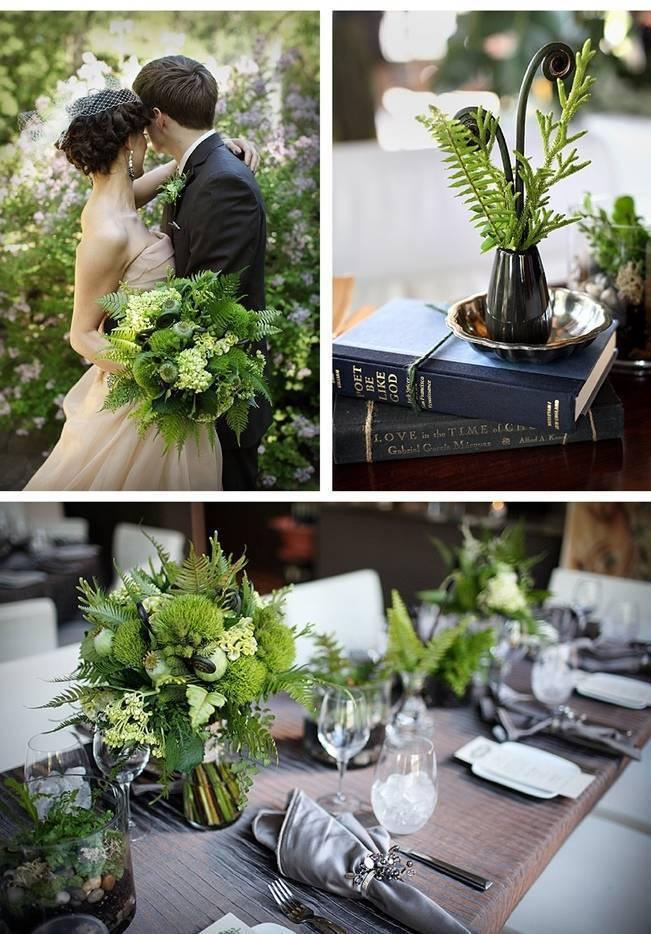 fern and fiddlehead woodland bouquet