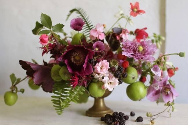 fern and purple flower bouquet