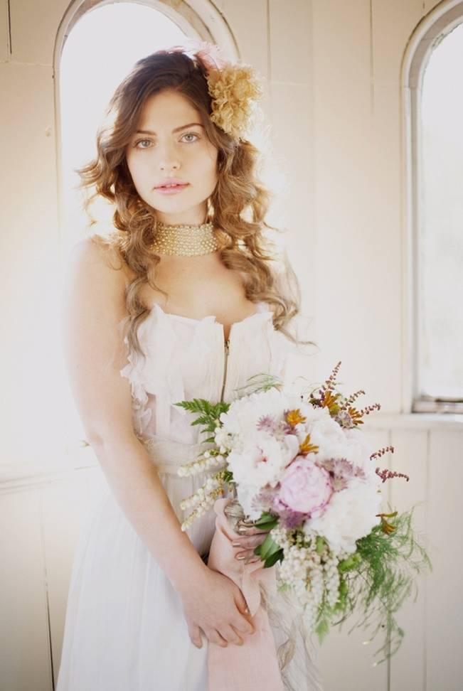 vintage corset wedding dress, light pink flowers