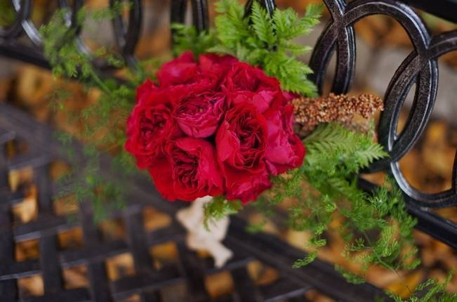 red rose and fern bridal bouquet