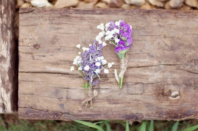rustic purple boutonniere