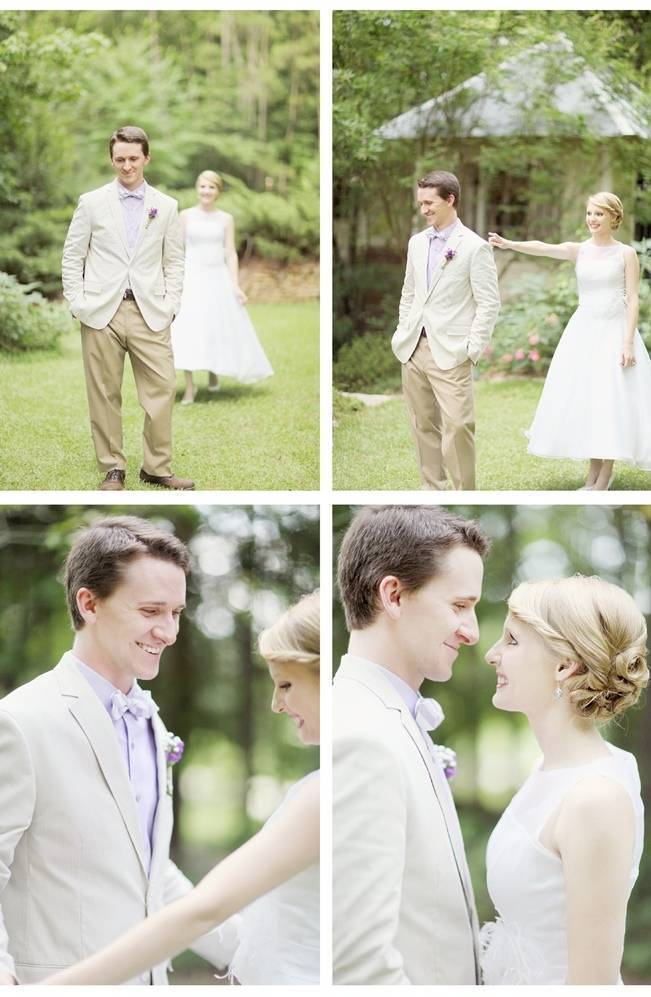 first look, tea length wedding dress