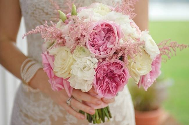 astilbe and rose bouquet cream and pink