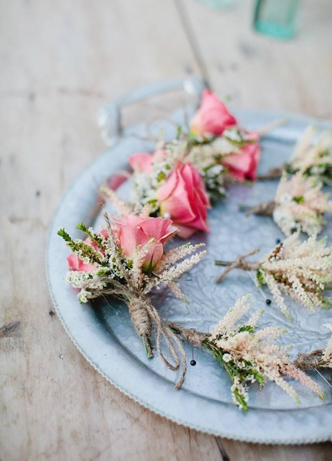 astilbe and rose boutonnieres