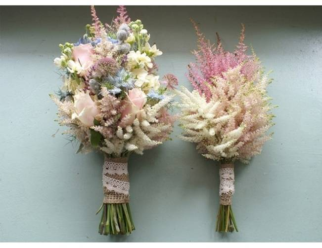 pink and cream astilbe bouquets