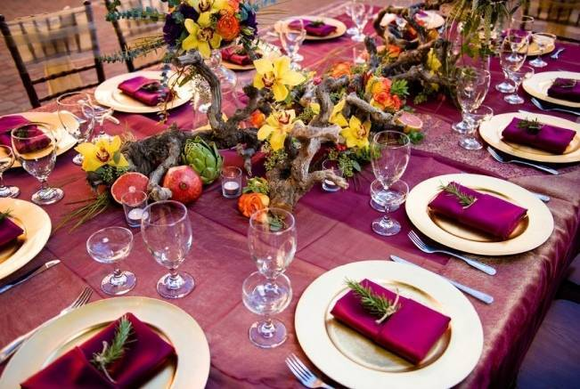 burgundy, orange, yellow wedding