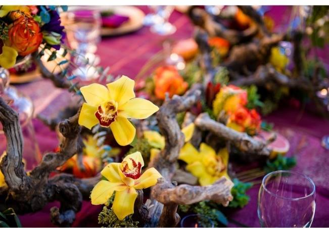 yellow orchid centerpiece