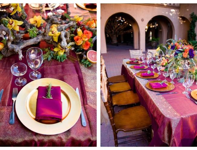 magenta wedding table